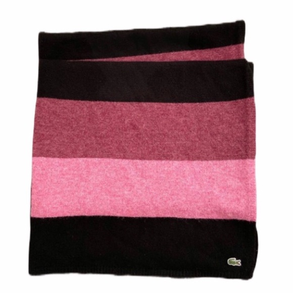 Lacoste Rose Pink Black Colorblock Long Scarf